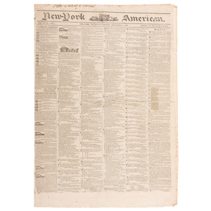 John Quincy Adams' Personal Issue of the New York American Featuring his Monroe Doctrine
