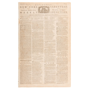 [Americana - 18th Century - Historic Newspapers] Rivington's New-York Gazetteer,  Rare Colonial American Newspaper with Reactions to the Intolerable Acts, April 1774