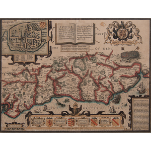 John Speed (British, 1552-1629) Engraved Map of Sussex with Colors