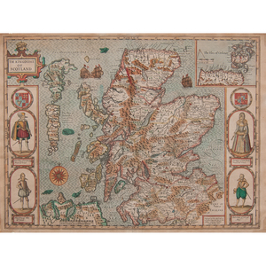 John Speed (British, 1552-1629) Engraved Map of Scotland with Colors