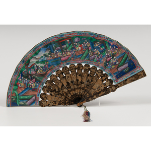 Chinese Painted Fan with Lacquer Box