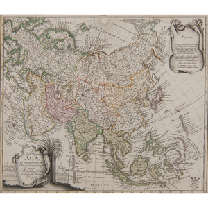 Leonhard Euler (Swiss, 1707-1783) Engraved Map of Asia with Colors