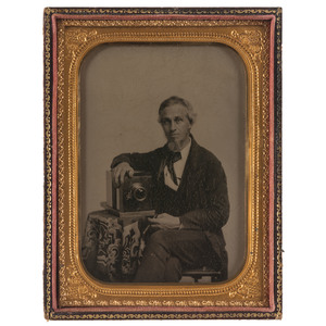Occupational Half Plate Ambrotype of Photographer Posed with his Daguerreotype Camera