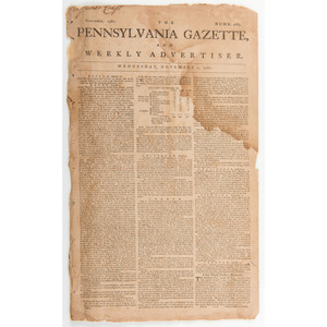 Battle of Yorktown and General Cornwallis' Surrender Covered in the Pennsylvania Gazette and Weekly Advertiser, 1781