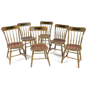 A Set of Six Grain-Paint and Polychrome Decorated Windsor Side Chairs by Jonathan Whitney of Massachusetts