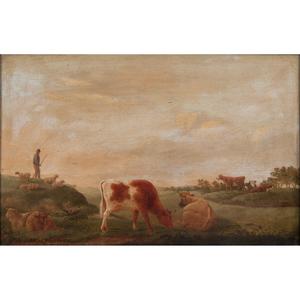 Eugène Joseph Verboeckhoven (Belgian, 1798-1881) Oil on Panel