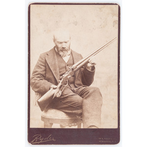 Post-War Cabinet Card of Berdan Sharpshooter Horace Warner with Experimental Rifle