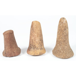 Two Quartz Bell Pestles AND A Granite Bell Pestle,  From the Collection of Jon Anspaugh, Wapakoneta, Ohio