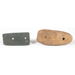 A Rectangular Slate Gorget AND A Partially Drilled Quartz Pendant,  From the Collection of Jon Anspaugh, Wapakoneta, Ohio