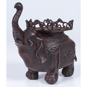 Ming-style Bronze Elephant Censer with Pagoda