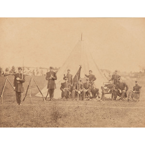 Civil War Albumen Photograph of the Guard Tent at Saratoga, 1863