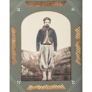 Civil War Hand-Tinted Albumen Photograph of Possible 76th Pennsylvania Zouave