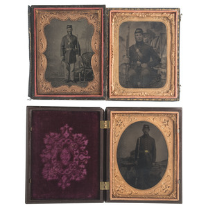 Three Quarter Plate Tintypes of Armed Civil War Soldiers