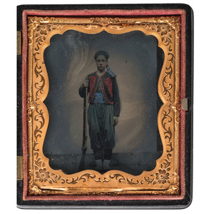 Sixth Plate Civil War Tintype of an Armed Zouave