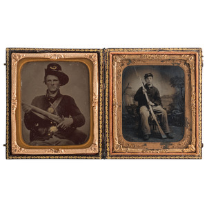 Two Sixth Plate Civil War Tintypes Featuring Armed Young Soldiers