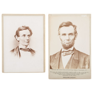 Abraham Lincoln, Pair of Cabinet Cards, Featuring Portrait by Moses P. Rice