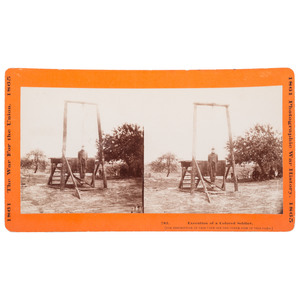 Civil War Military Execution Stereoview, The Hanging of Private William Johnson, 23rd US Colored Troops