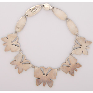 Federico Jimenez (Mixtec, b.1941) Sterling Silver and Mosaic Inlay Butterfly Necklace