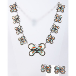 Federico Jimenez (Mixtec, b.1941) Sterling Silver and Mosaic Inlay Butterfly Necklace and Earrings