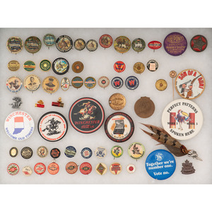 Lot of Sporting Pinback and Memorabilia Including Scarce W.R. Crosby Winchester Edition