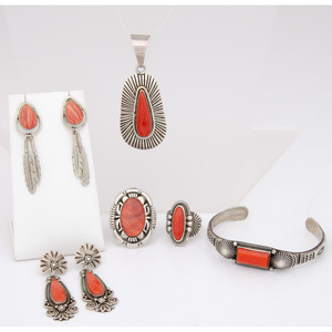 Navajo Sterling Silver Jewelry in Shades of Red