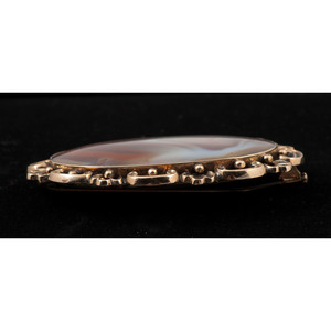 Victorian Agate Brooch with Hair Receptacle