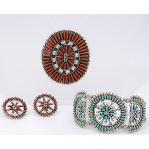 Zuni Silver, Turquoise, and Coral Petit Point Jewelry