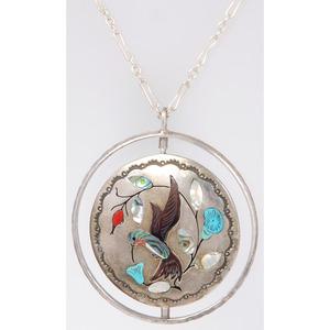 Jake Livingston (Zuni / Dine, b.1946) Mosaic Inlay Hummingbird Swivel Pendant and Ring