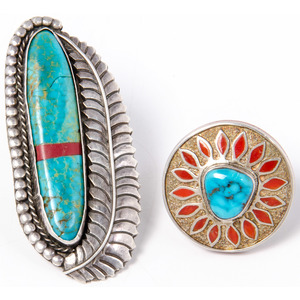 Navajo Silver, Turquoise, and Coral Rings