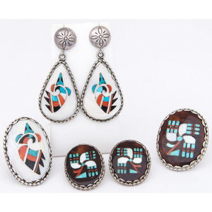 Two Sets of Mosaic Inlay Earrings and Ring