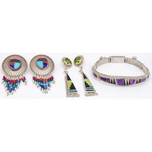 Eldred Martinez (Zuni, 20th century) Mosaic Inlay Earrings PLUS