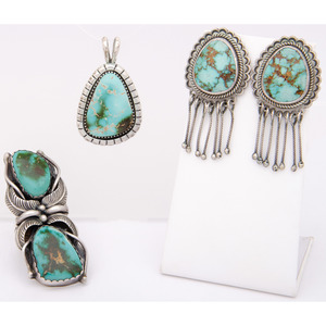 Perry Shorty (Dine, b.1964) Navajo Silver and Turquoise Earrings PLUS