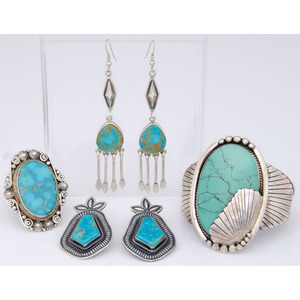 Mike Bird Romero (Ohkay Owingeh, b.1946) Sterling Silver and Turquoise Earrings PLUS