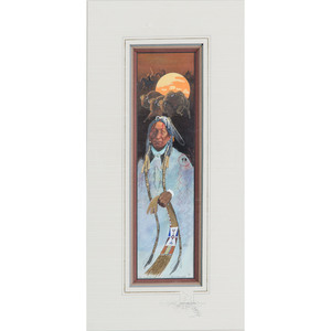Merlin Little Thunder (Southern Cheyenne, b. 1956) Watercolor on Paper
