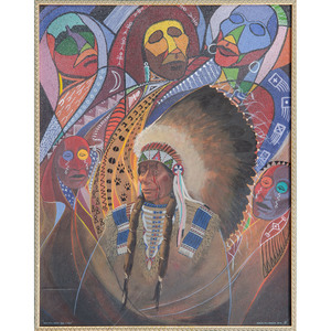 Merlin Little Thunder (Southern Cheyenne, b. 1956) Mixed Media on Paper