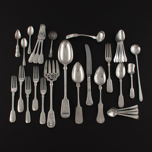 19th Century British Sterling, Coin, and Silverplated Flatware