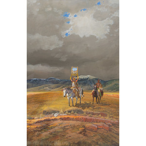 Merlin Little Thunder (Southern Cheyenne, b. 1956) Gouache on Paper