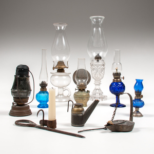 Collection of Oil Lamp and Wrought Iron Lighting