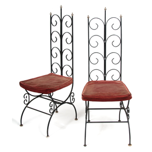 Pair Gothic Style Wrought Iron Chairs