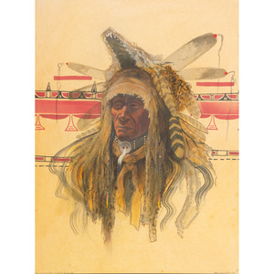 Merlin Little Thunder (Southern Cheyenne, b. 1956) Watercolor on Paper