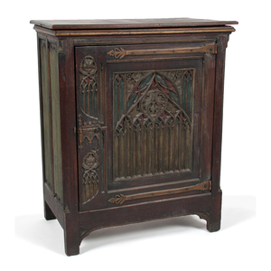 Gothic-Style Carved Music Cabinet