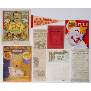 Collection of Circus Posters, Broadsides, Programs, Route Books, and Other Ephemera, ca 1820s-1980s