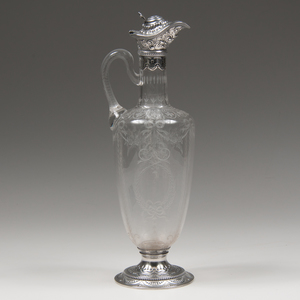 Gorham Sterling and Etched Glass Ewer