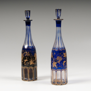 Pair Cobalt-to-Clear Gilt Decanters