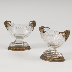 Pair Austrian Ram's Head Master Salts