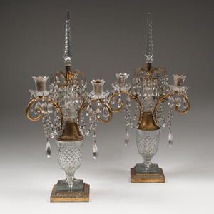 Pair Cut Glass Candelabras