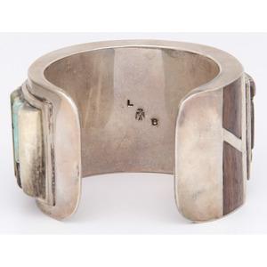 Navajo Silver Bracelet with Cobblestone Inlay