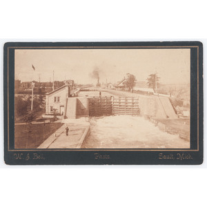 Michigan Canal Lock, Boudoir Card by W.J. Bell