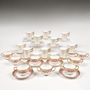 English Gilt China Teacup and Saucer Sets