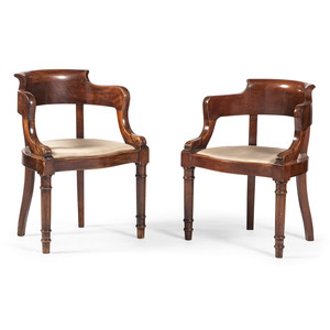French Empire Barrel Back Chairs